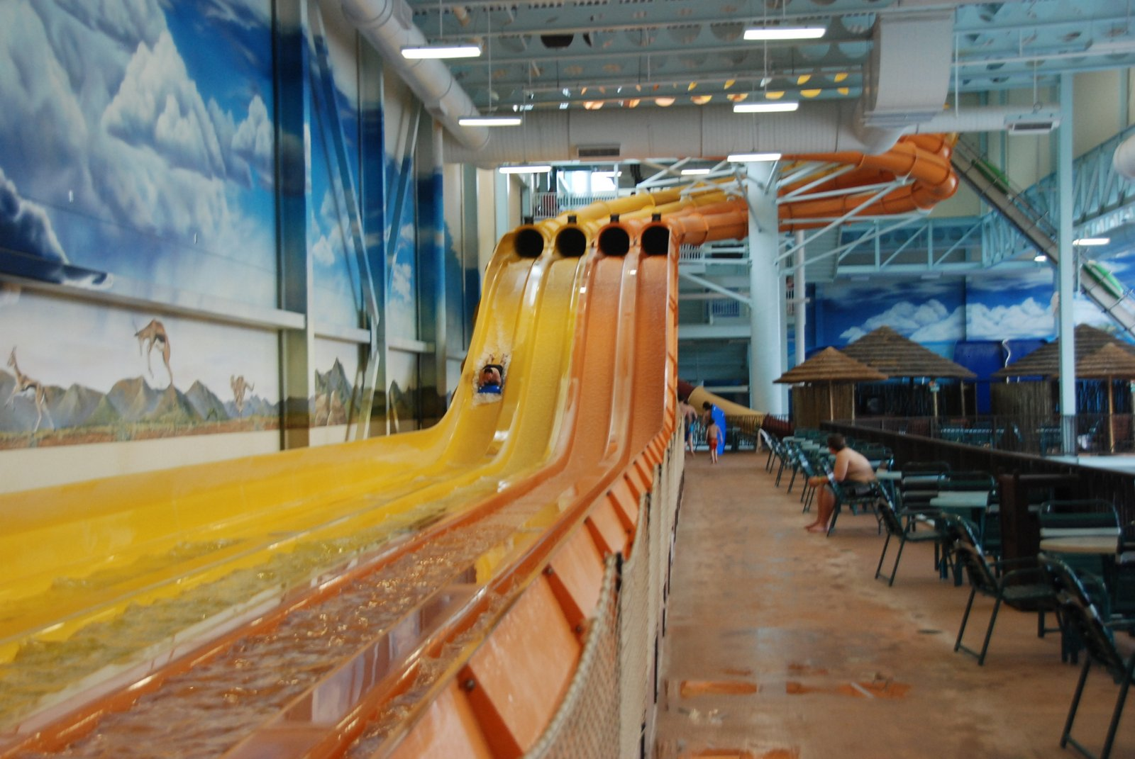indoor slides at the kalahari (see the @waterparks360 profile of